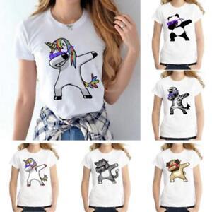 Unicorn-T-shirt-Women-Loose-Short-Sleeve-Casual-Blouse-Shirt-Tops-Tee-JJ