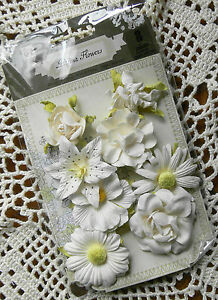 SOUBRETTE-8-PEARL-WHITE-Paper-Mixed-PRIMA-Flower-Pack-Approx-25-45mm-Ea