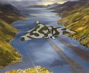Avro-Vulcan-RAF-Bomber-Plane-Aircraft-Painting-Aviation-Art-Print-14-034-Print