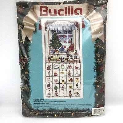 Bucilla TOY SHOPPE Christmas Advent Calendar Counted Cross Stitch Kit 82760