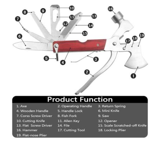 18 in1 Function Multi Tool Hatchet Axe Hammer Outdoor Camping Emergency Survival