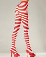 White And Red Striped Pantyhose Tights - Be Wicked Bw517wr