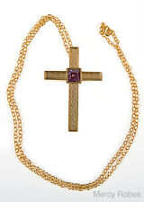 """New LADIES PECTORAL CROSS w30"""" Chain, (SUBS788 G-P), Purple, Gold Plating"""
