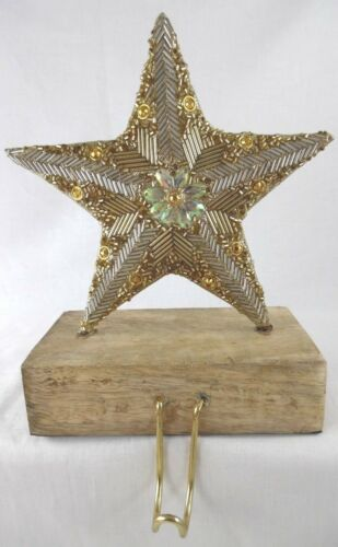 Primitive Gold /& Silver Beaded Sequined Star /& Wood Xmas Stocking Holder New #1