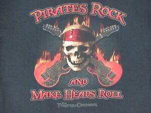 Disney-Pirati-di-il-Caraibi-Teschio-amp-Chitarre-Medio-Nero-T-Shirt-C570