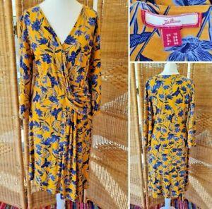 Joe Browns Yellow Blue Floral Mock Wrap Jersey Midi Stretch 3/4 Sleeve Dress 12