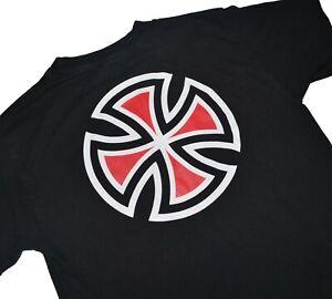 Vintage-90s-Independent-Trucks-T-Shirt-Size-Medium-Black-NHS-Tag-Skateboard-Tee