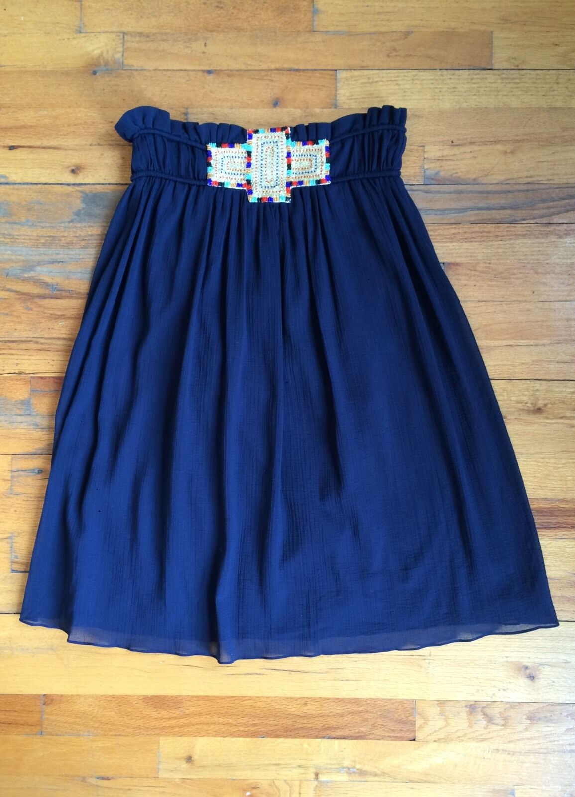 Foley & Corinna bluee Cotton Boho Peasant Midi Skirt Embroidered Sz Sm PERFECT