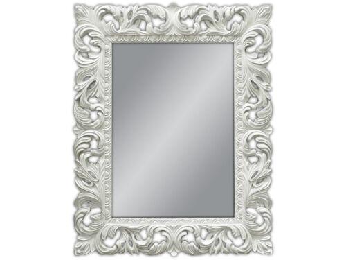 Miroir mural blanc antique baroque repro shabby chic glamour 100x80 miroir woe