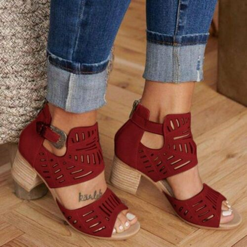 Womens Peep Toe Buckle Hollow-Out Sandals Breath Mid Block Heels Shoes Plus Size
