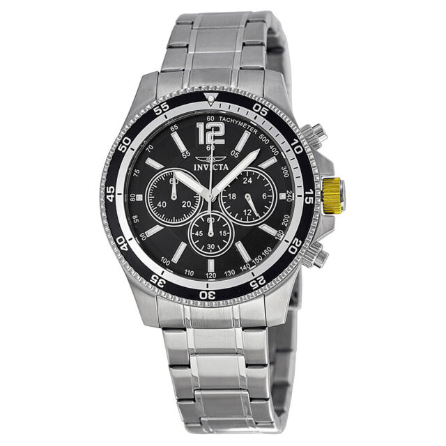 Invicta Specialty Chronograph Black Dial Stainless Steel Mens Watch 13973