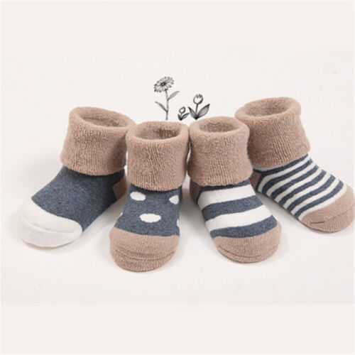 4 Pairs Socks Baby Newborn Infant Toddler Cute Winter Thermal Warm Socks
