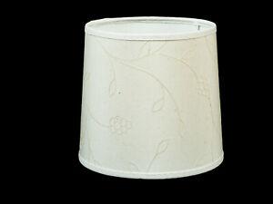 Lampenschirm-Rund-16-cm-Leinen-mit-Ranken-Muster-Tischleuchte-E27-Nachttisch