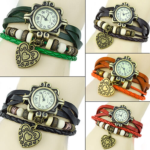 VINTAGE LEATHER BAND BRACELET HEART DECORATION QUARTZ WRIST WATCH FOR WOMEN BB8K