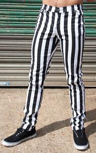b27d860ff9537 Details zu Herren Streifen Hose Jeans Schwarz Weiß Gestreift Punk Rock Inch  32