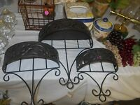 Set/3- Home Interiors Flora Wall Baskets/shelves Antiqued Brown Metal