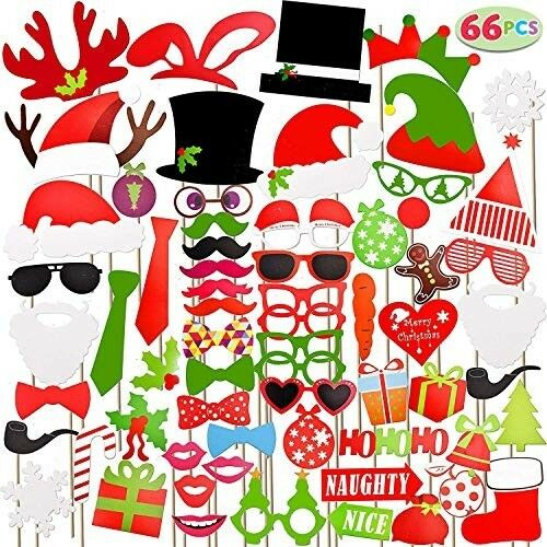 Joyin Toy 66 Pieces Christmas Photo Booth Props For Event Party Favors And  Art