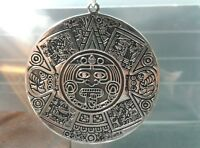 Extra Large 40 Mm Wide .925 Sterling Silver Aztec Mayan Pendant - Free Shipping