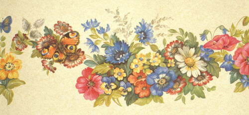 Smita Fiorellini 11505 Borte Bordüre Blumen Schmetterlinge beige bunt Vinylborte