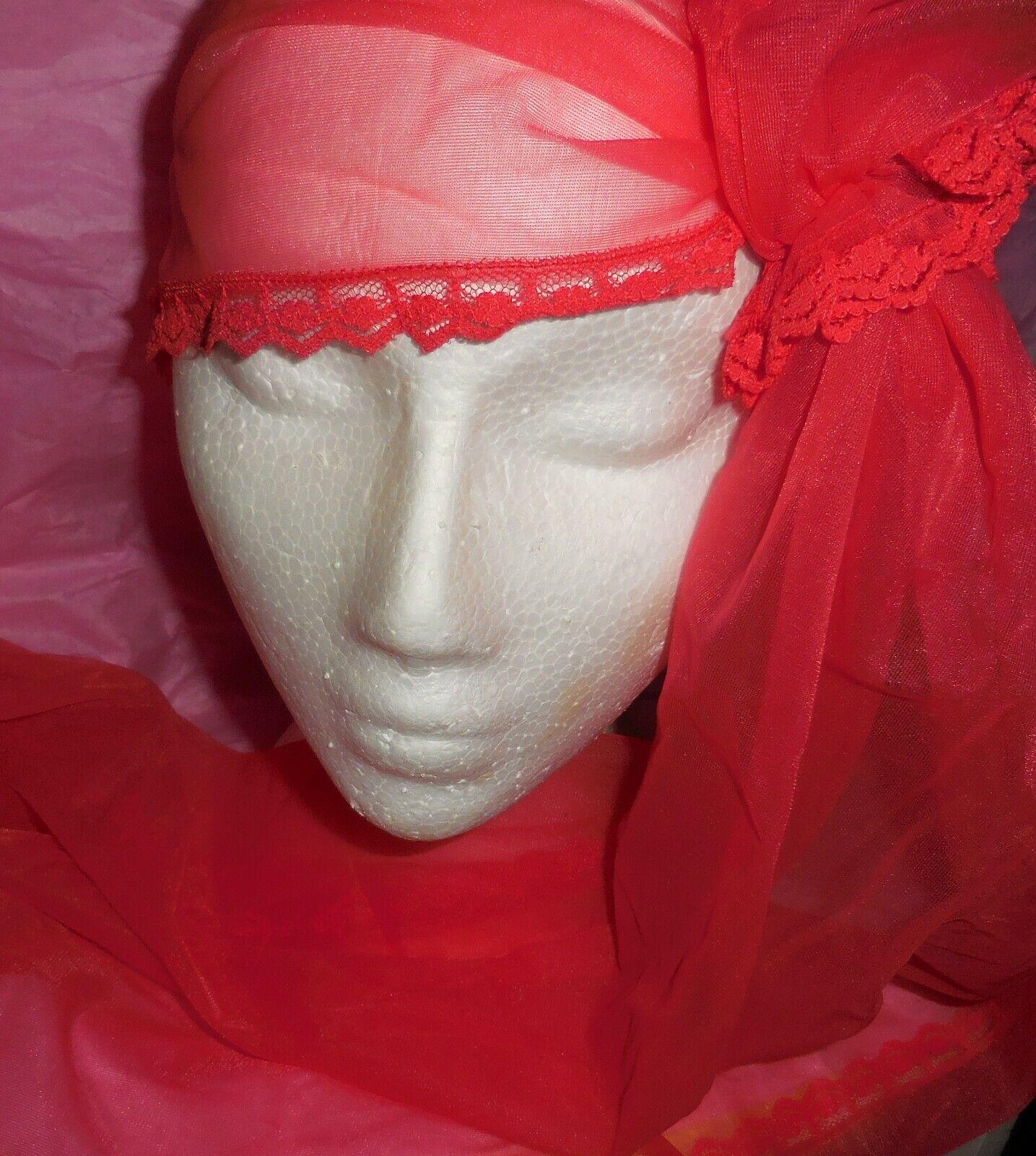 Vintage Snood Shocking Pink Nylon Chiffon Hair Wr… - image 2