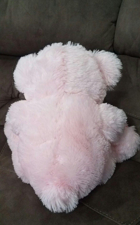 LARGE 17  Teddy Bear Stuffed Animal Toy Pink Pink Pink w  heart trim holding heart PLUSH 8218b6
