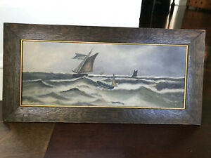 Antique Primitive Folk Art Still Life Ocean Boat Waves Storm Oil Painting