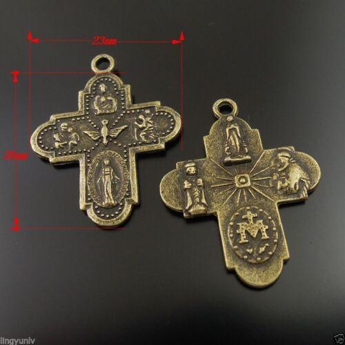26x23mm Vintage Bronze Tone Alloy Goddess Cross Charm Pendant Finding