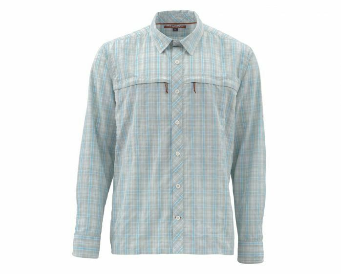 Simms Stone Cold Long Sleeve Shirt-Celadon Plaid - Size Medium - Closeout