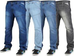 Mens-Regular-Fit-Straight-Leg-Denim-Jeans-Pants-Big-Tall-All-Waist-Size-Trousers