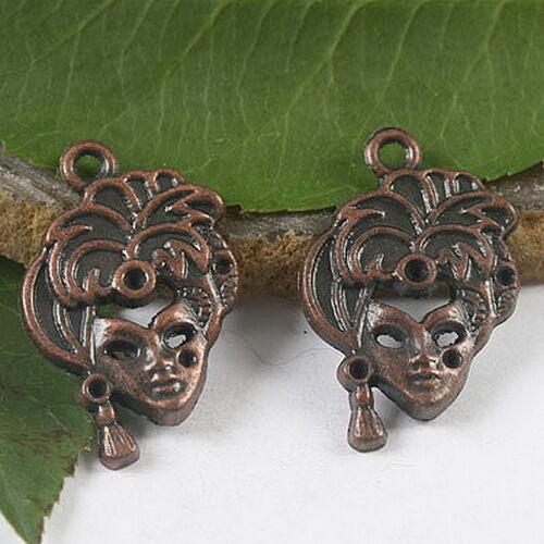 8pcs antiqued copper tone woman mask design charms h1765