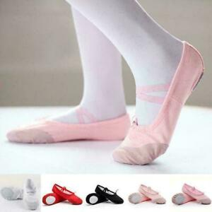 Adult-Women-Lady-Canvas-Split-Sole-Ballet-Dance-Shoes-Pointe-Slippers-Size-F7Z5