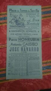 1950-Cartel-Plaza-de-Toros-Sevilla-Gran-Novillada-Honrubia-Galisteo-Navarro