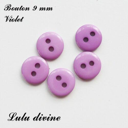 Violet Lot de 10 Boutons Rond à 2 trous de 9 mm