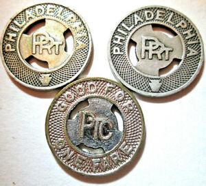 LOT-of-3-VINTAGE-PHILADELPHIA-RAILROAD-TRANSIT-TOKENS-GOOD-FOR-ONE-FARE