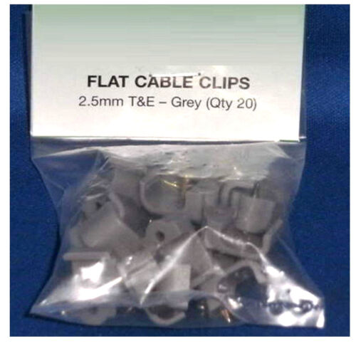 Flat Cable Clips 2.5mm T/&E Grey Quantity 20 Fairway