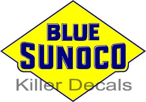 "SUNOC-4 12/"" old BLUE SUNOCO GASOLINE GAS PUMP OIL TANK DECAL DX"