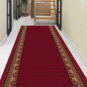 Neu Teppichläufer Küchenläufer Flur Klassisch Breite 67 80 und 100 cm Rot Beige