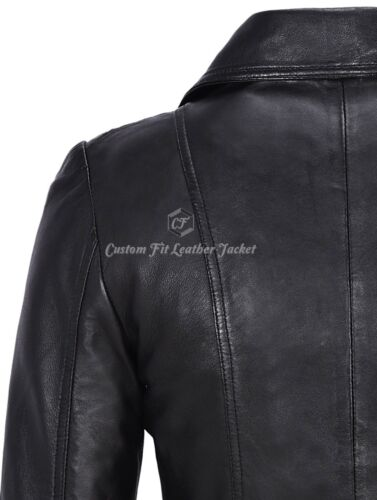 Ladies Leather Trench Coat Black 100/% REAL LEATHER Classic Mid Length BS-222