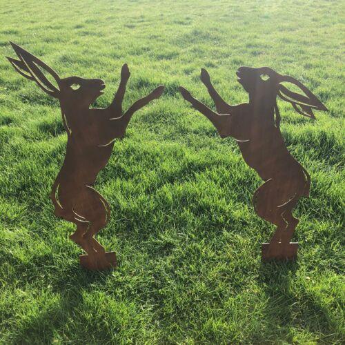 2 BIG PUGILATO Lepri RUSTY IN METALLO RUSTICO Ornamenti Da Giardino Statua Scultura Decor