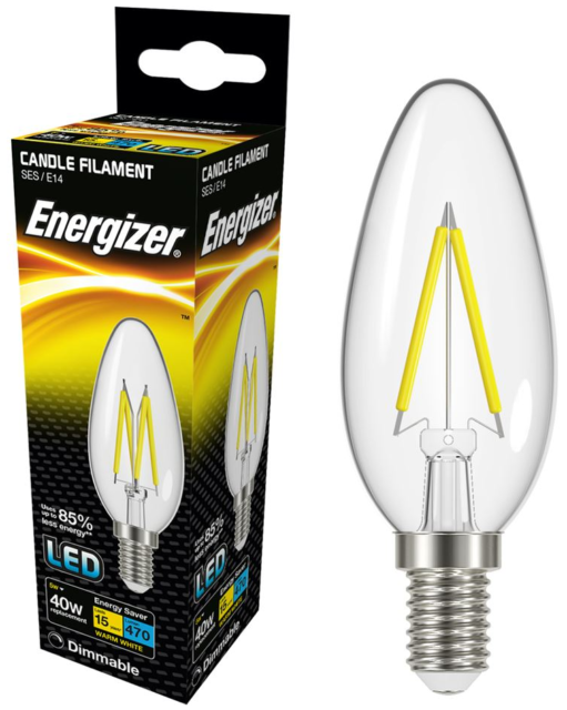 Energizer 5w (=40w) LED Clear Filament Candle Bulb, Extra Warm White - SES