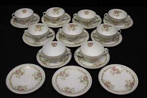 21pc-ZS-amp-Co-Porcelain-MIGNON-Rose-Bouillon-Cream-Soup-Cup-amp-Saucer-Set-Bavaria