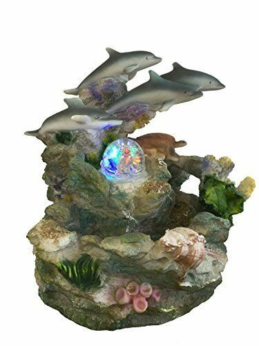 Dolphins and Turtle Water Fountain with Pump 100% Polyresin Hand Painted Beige