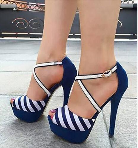 Trendy Women Sandals Platform High Heels Striped Sandals Shoes Woman Big Size 20