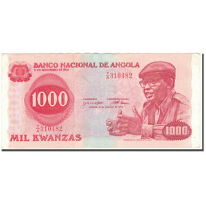 40-45 #594649 1000 Kwanzas 1979-08-14 Strong-Willed Ef Km:117a Angola Banknote