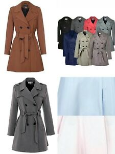 Women-039-s-New-Double-Breasted-Trench-Mac-Coat-Ladies-Fashion-Belted-Jacket