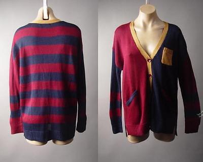 Black White Stripe Open Front Jersey Long Lightweight Jacket 258 mv Cardigan M L