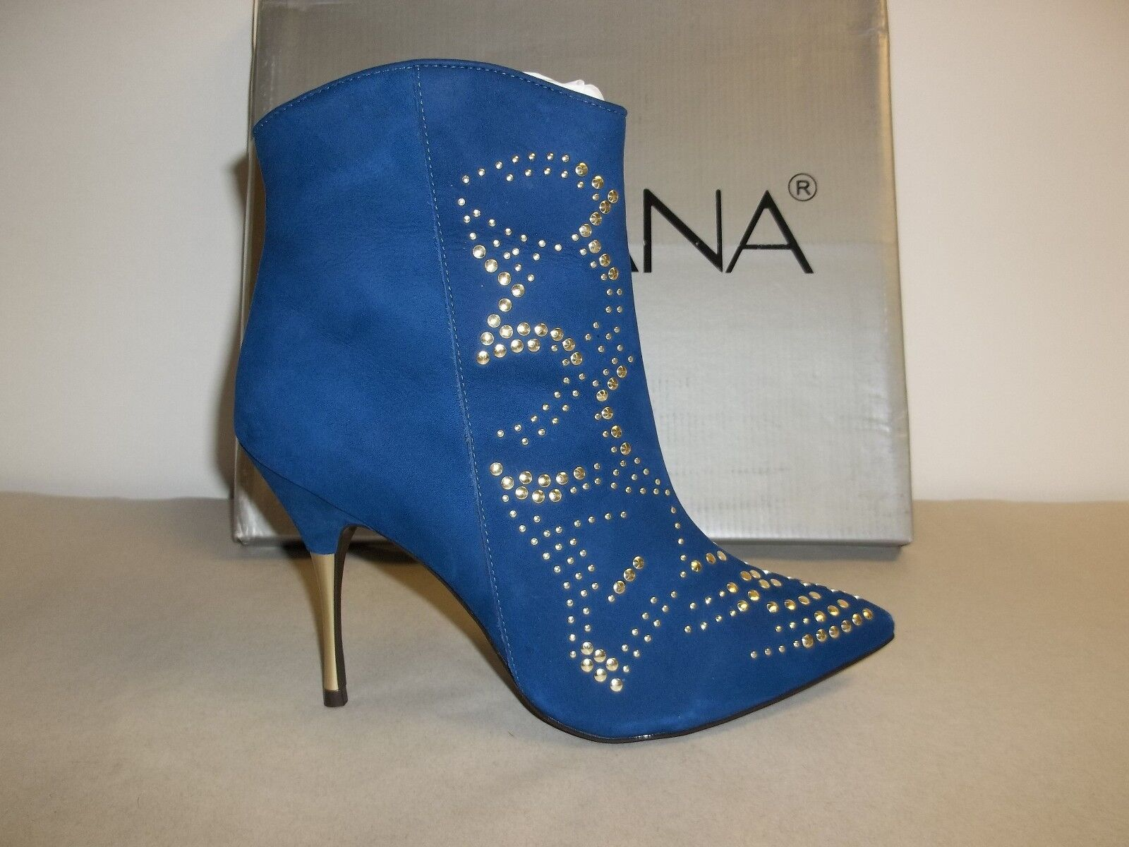 Amiana Size 6 M 12-102004-430 Blue Leather Heels Ankle Boots New Womens Shoes
