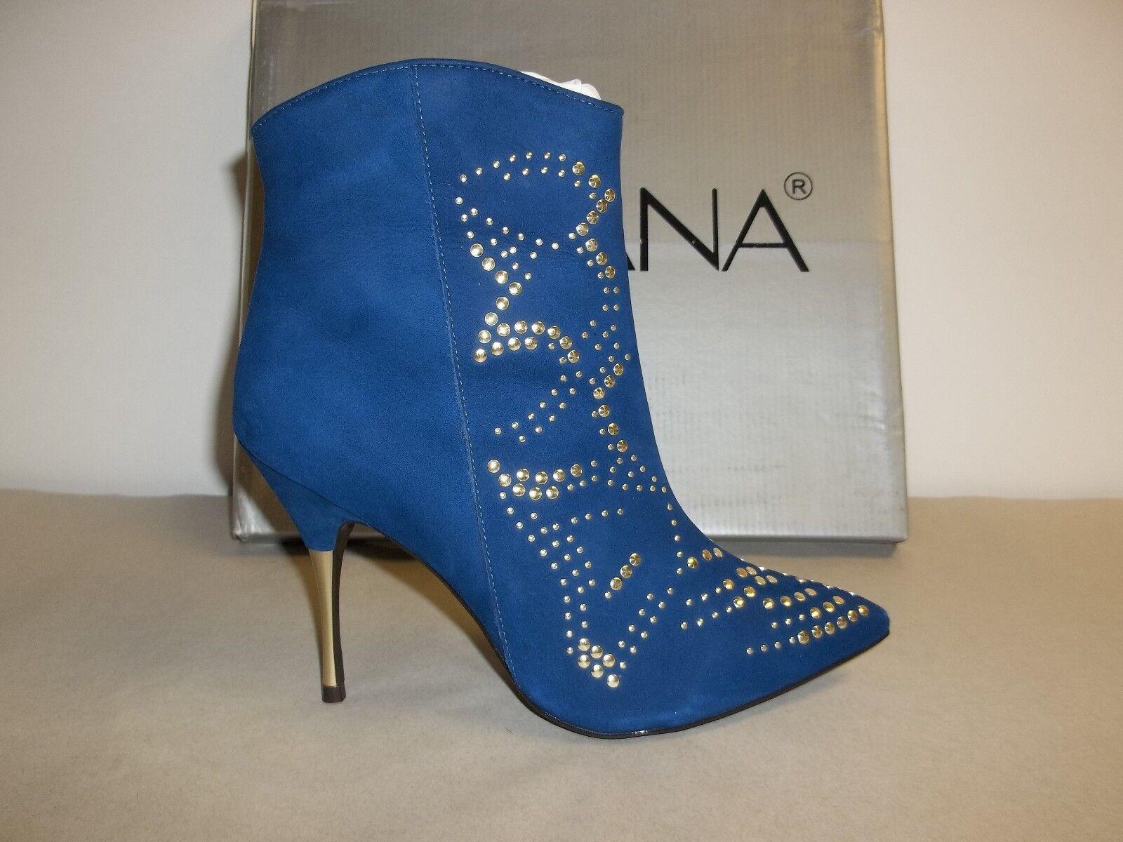 Amiana tamaño 7 M 12-102004-430 Azul Cuero Tacones botas al Tobillo Zapatos para mujer Nuevo