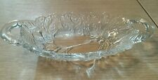 Tiara Indiana Glass Clear  Handled Relish Dish in Pears Pattern