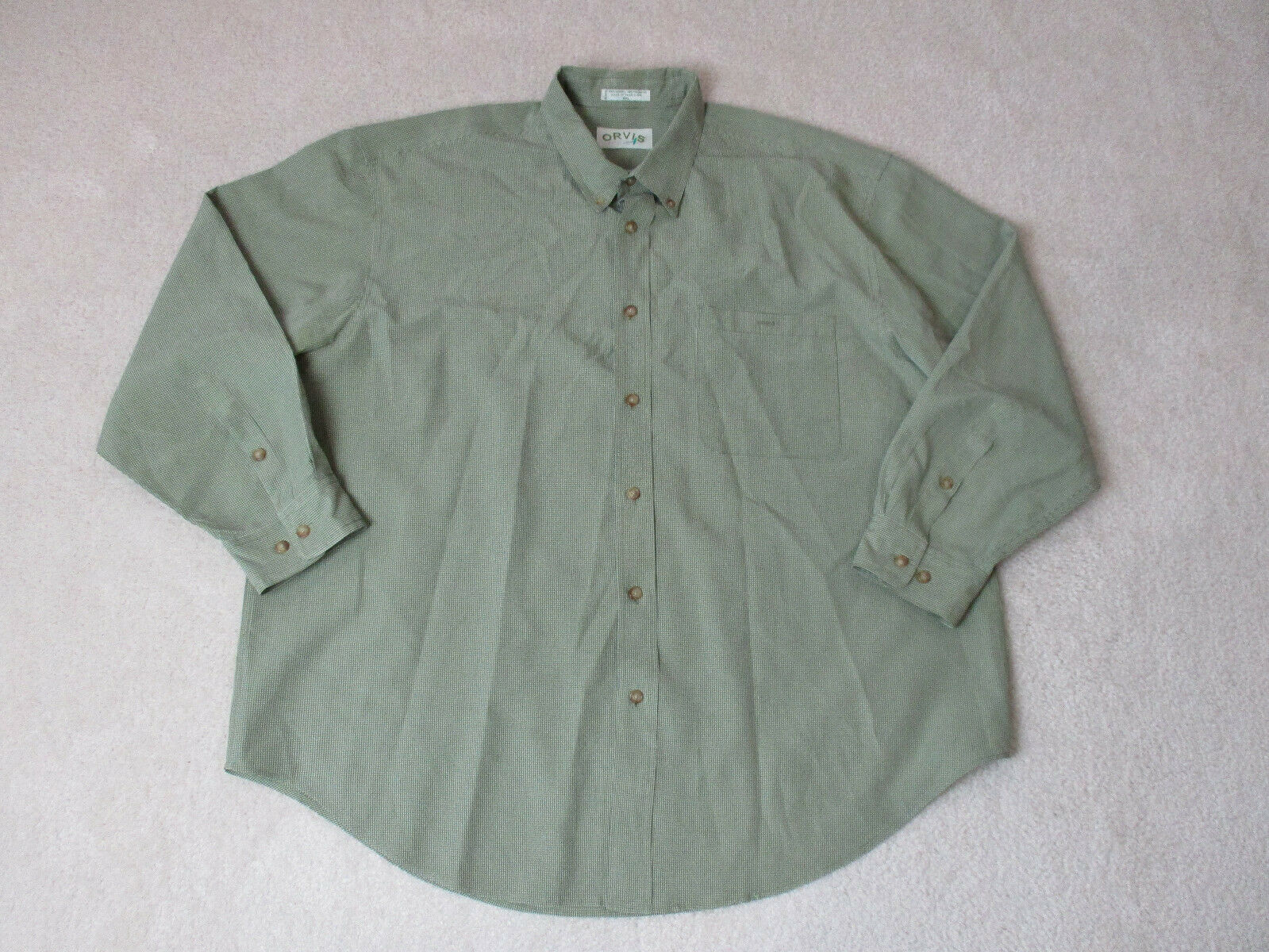 Orvis Button Up Shirt Adult 2XL XXL Green Brown Plaid Long Sleeve Casual Mens